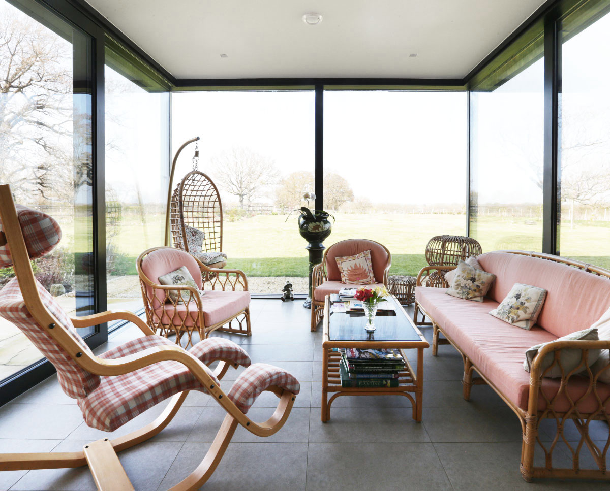 The garden room at Echo Barn (Para 55). Designed by Hawkes Architecture, this energy efficient grand design, follows passive house principles.