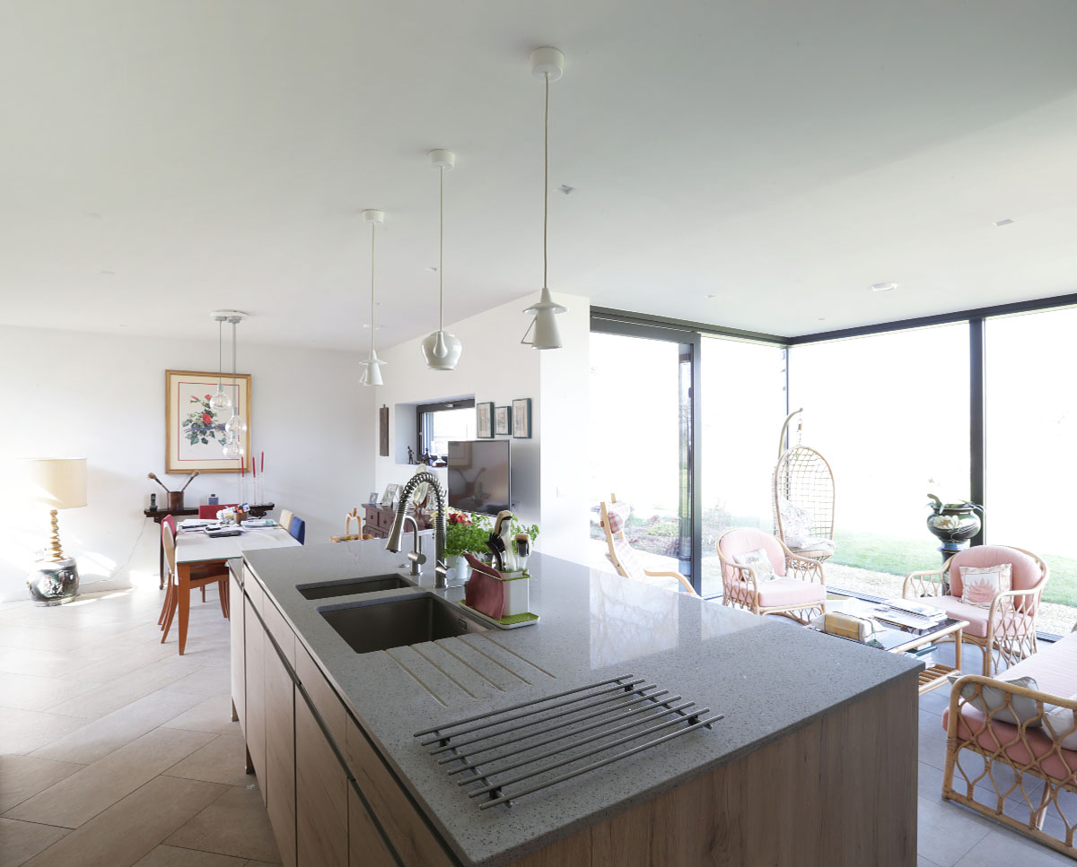 The kitchen at Echo Barn (Para 55). Designed by Hawkes Architecture, this energy efficient grand design, follows passive house principles.