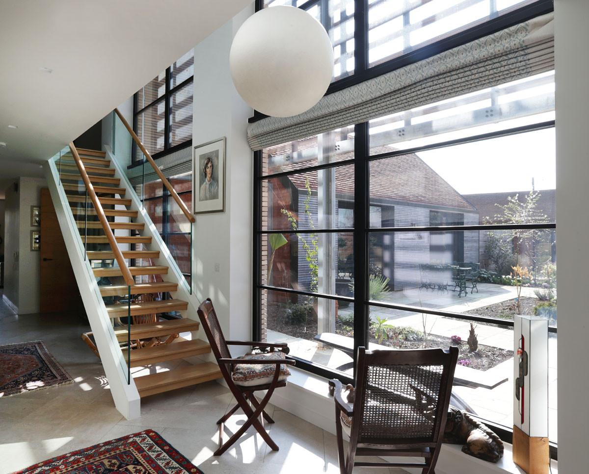 The internal staircase at Echo Barn (Para 55). Designed by Hawkes Architecture, this energy efficient grand design, follows passive house principles.