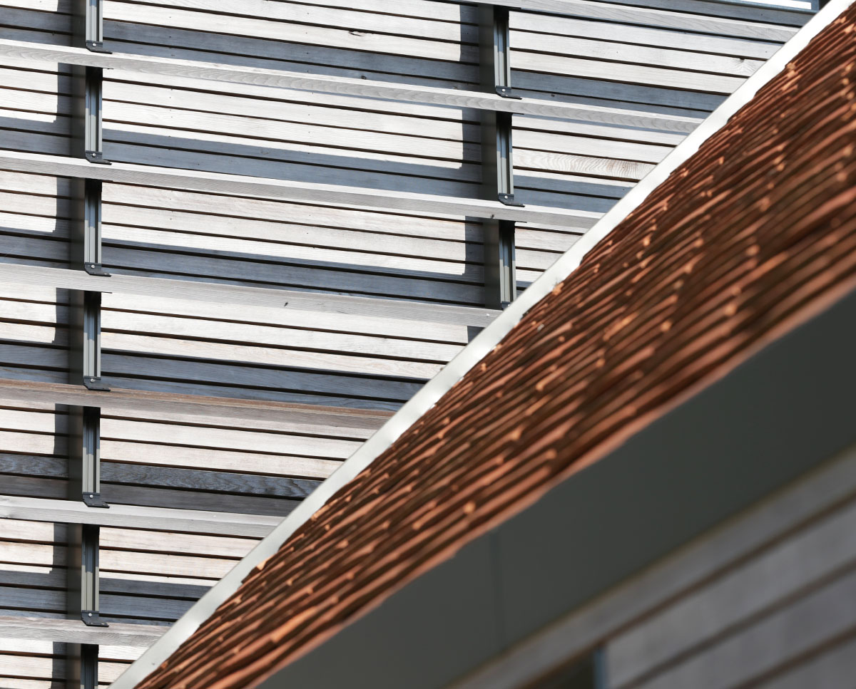 Tile detail at Echo Barn (Para 55). Designed by Hawkes Architecture, this energy efficient grand design, follows passive house principles.