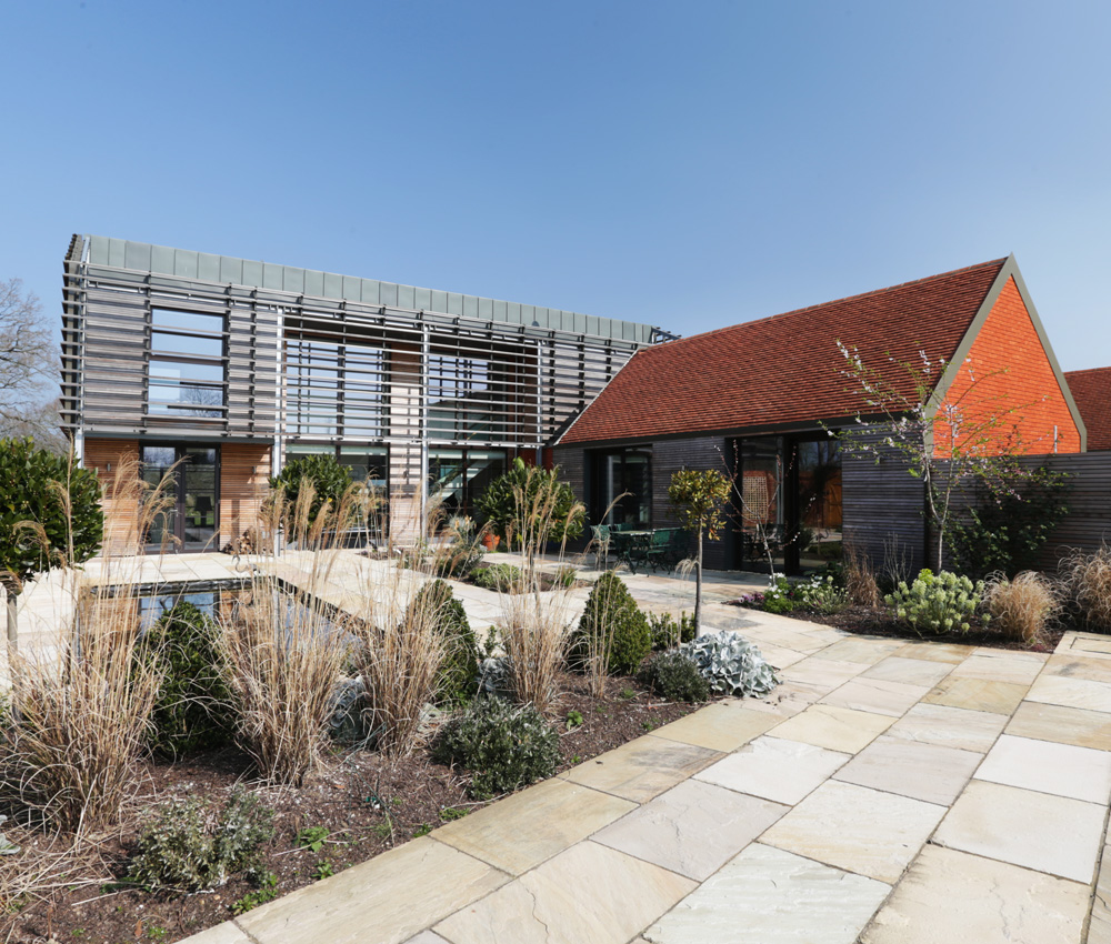 Echo Barn (Para 55). Designed by Hawkes Architecture, this energy efficient grand design, follows passive house principles.