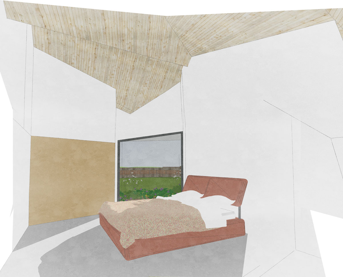 The bedroom at Rural Faversham (Para 79). Designed by Hawkes Architecture, this energy efficient grand design, follows passive house principles.