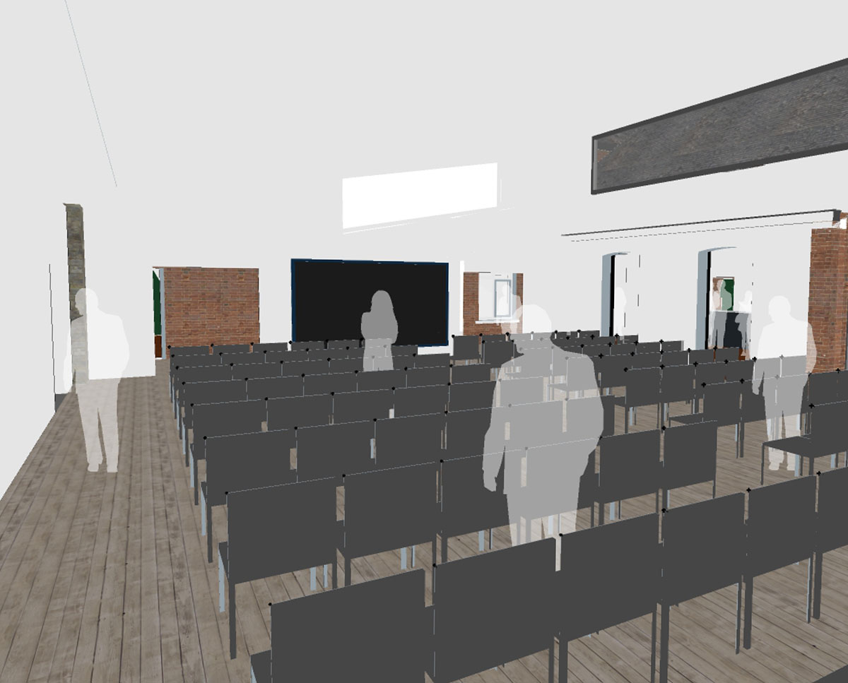 Internal render of Community Centre, a new build & remodelling project in Staplehurst, designed by Hawkes Architecture.