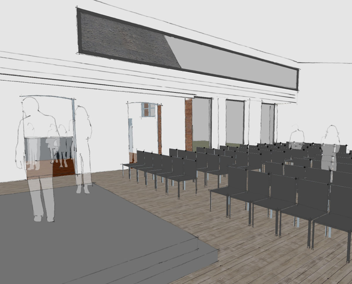 Inside of the Community Centre, a new build & remodelling project in Staplehurst, designed by Hawkes Architecture.