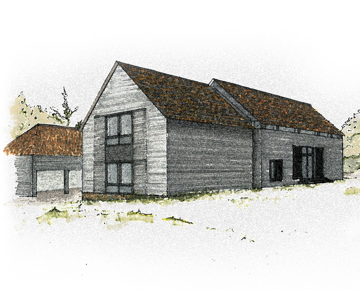 An early visual of Bells Yew Barn. A sustainable, energy efficient family home designed and remodelled by Hawkes Architecture.
