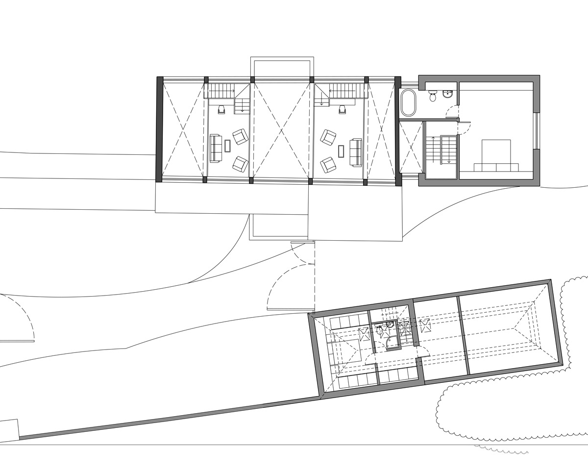 First floor plan of Bells Yew Barn. A sustainable, energy efficient family home designed and remodelled by Hawkes Architecture.