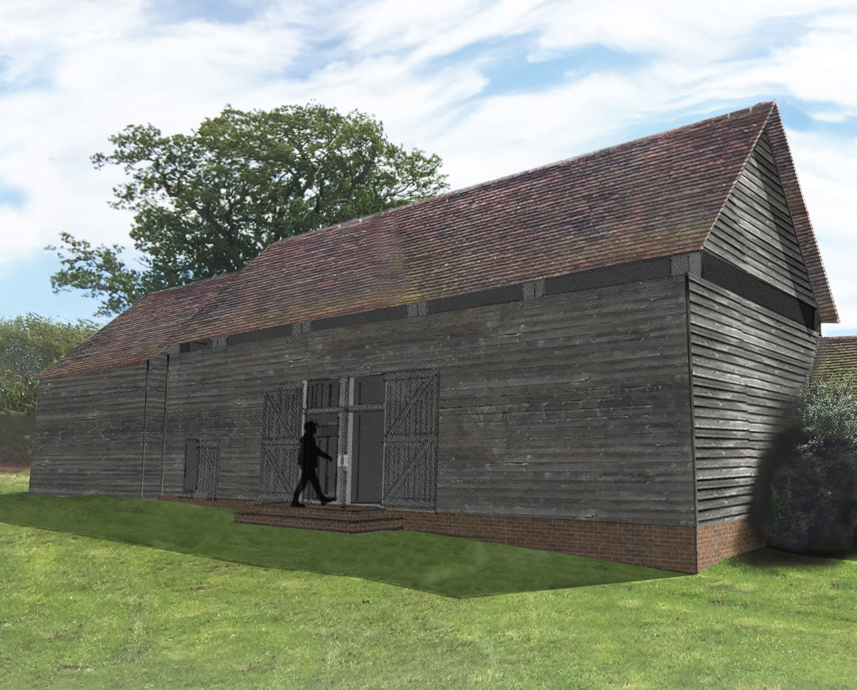 South elevation of Bells Yew Barn. A sustainable, energy efficient family home designed and remodelled by Hawkes Architecture.