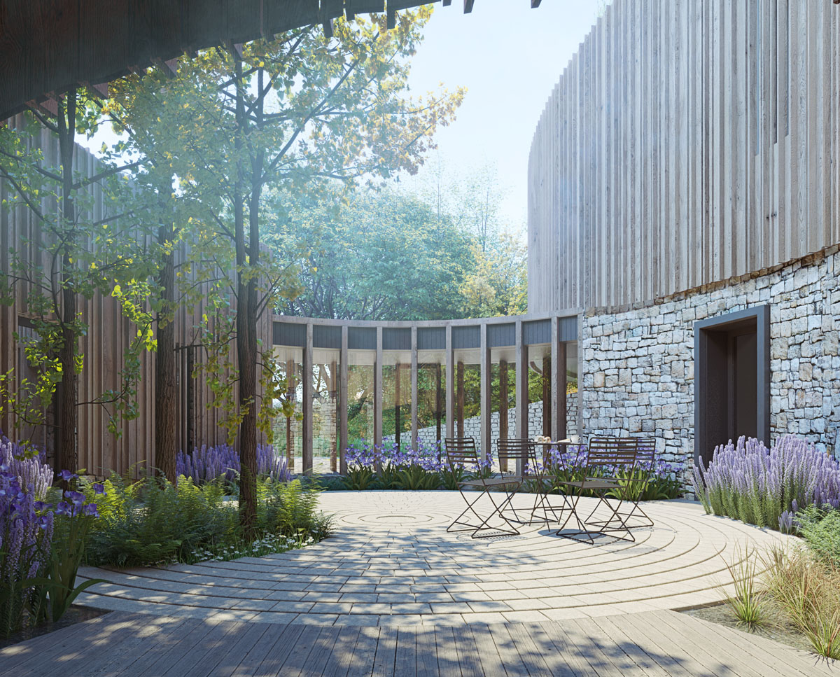 Courtyard render of Bergbyr (Para 79). Designed by Hawkes Architecture, this energy efficient grand design, follows passive house principles.