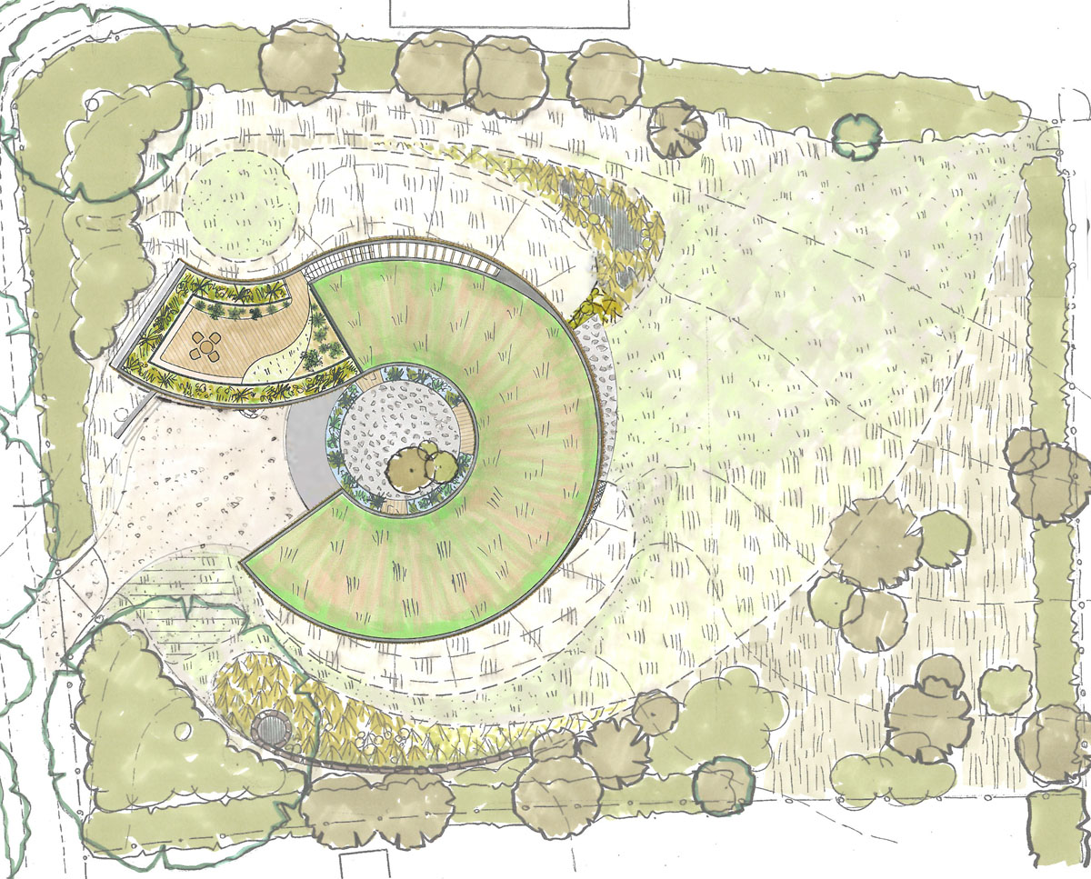 Landscape architect plan of Bergbyr (Para 79). Designed by Hawkes Architecture, this energy efficient grand design, follows passive house principles.