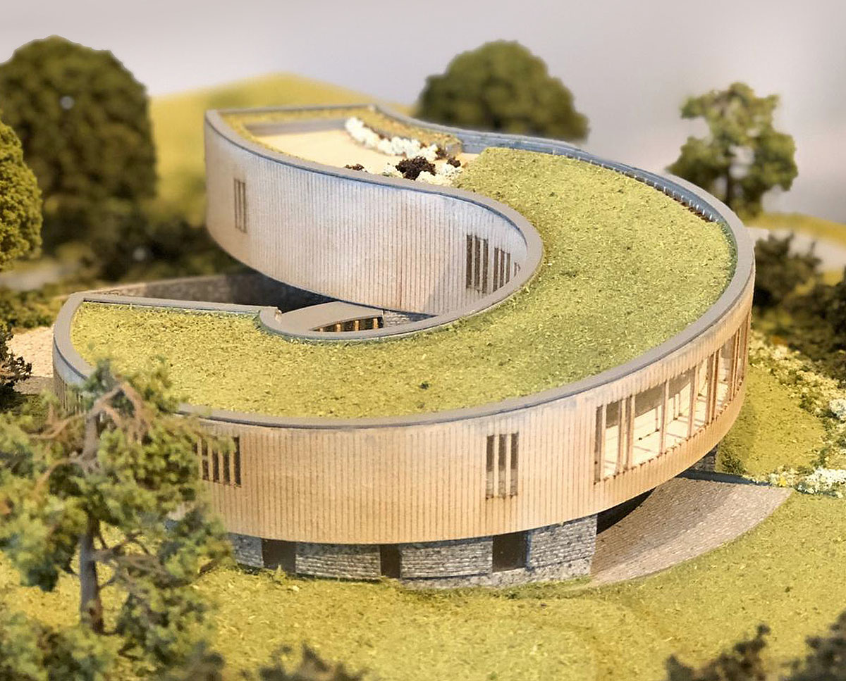Professional model of Bergbyr (Para 79). Designed by Hawkes Architecture, this energy efficient grand design, follows passive house principles.