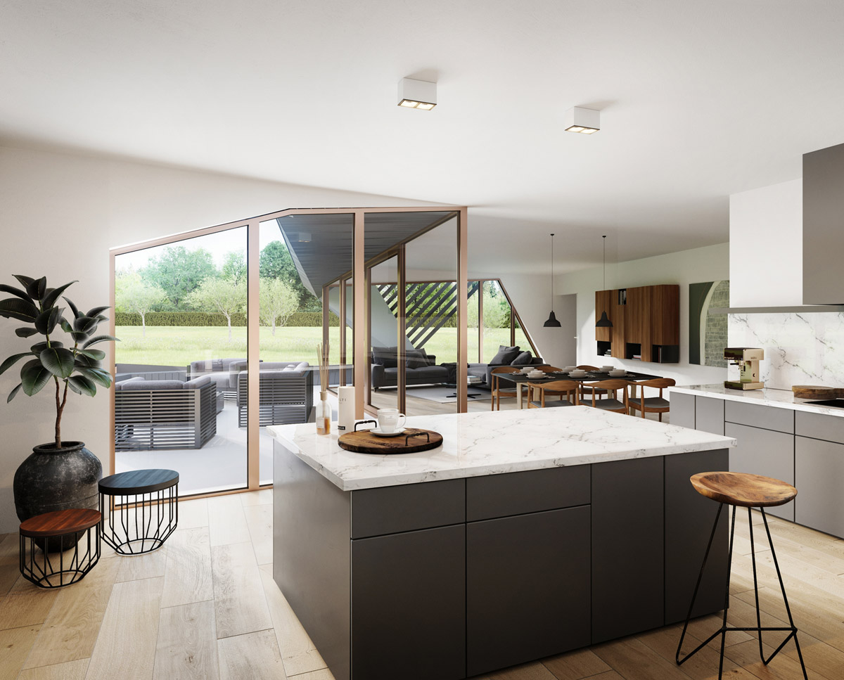 The kitchen render of Cannon Barn (Para 79). Designed by Hawkes Architecture, this energy efficient grand design, follows passive house principles.