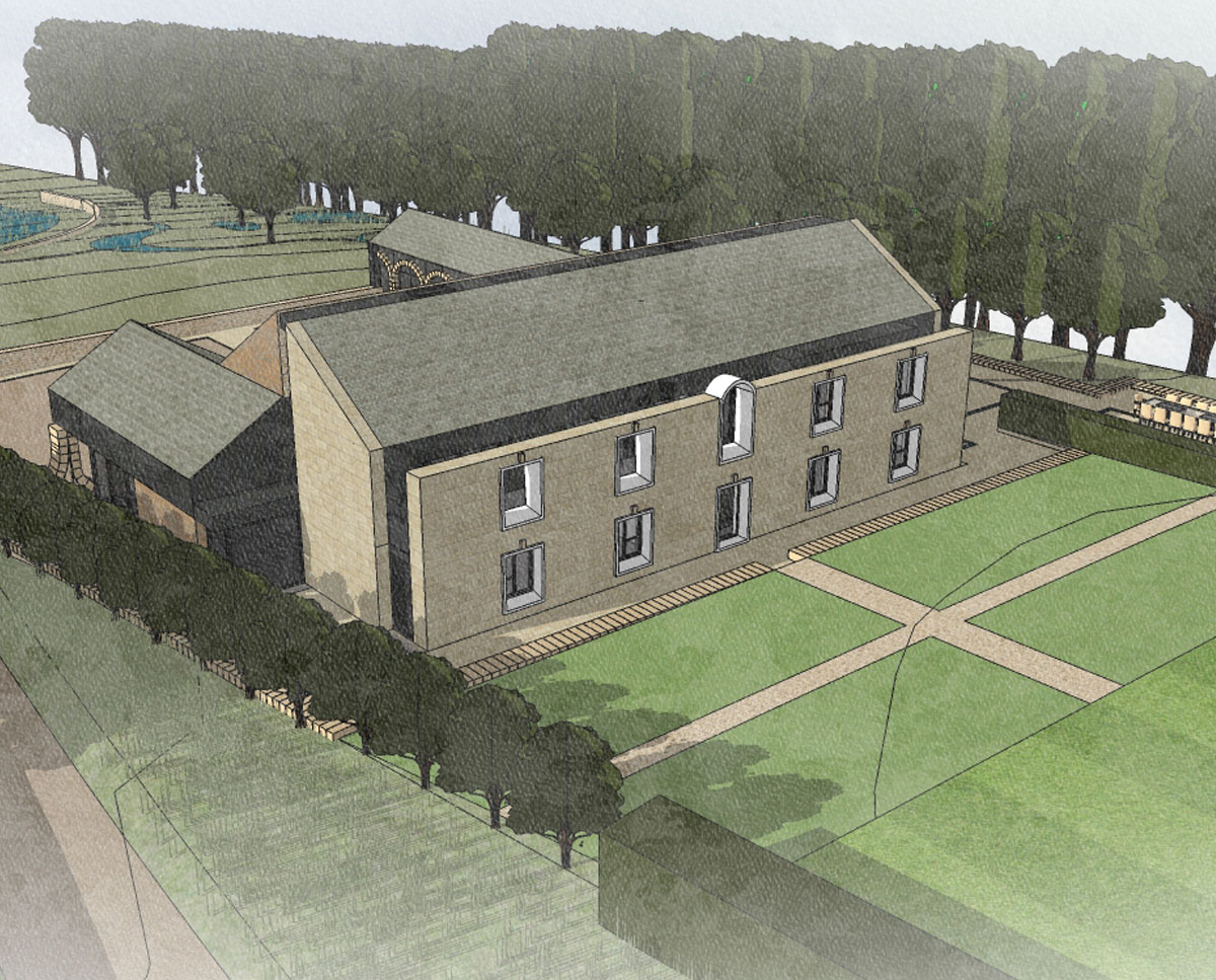 Aerial render of North Yorkshire (Para 79). Designed by Hawkes Architecture, this energy efficient grand design, follows passive house principles.