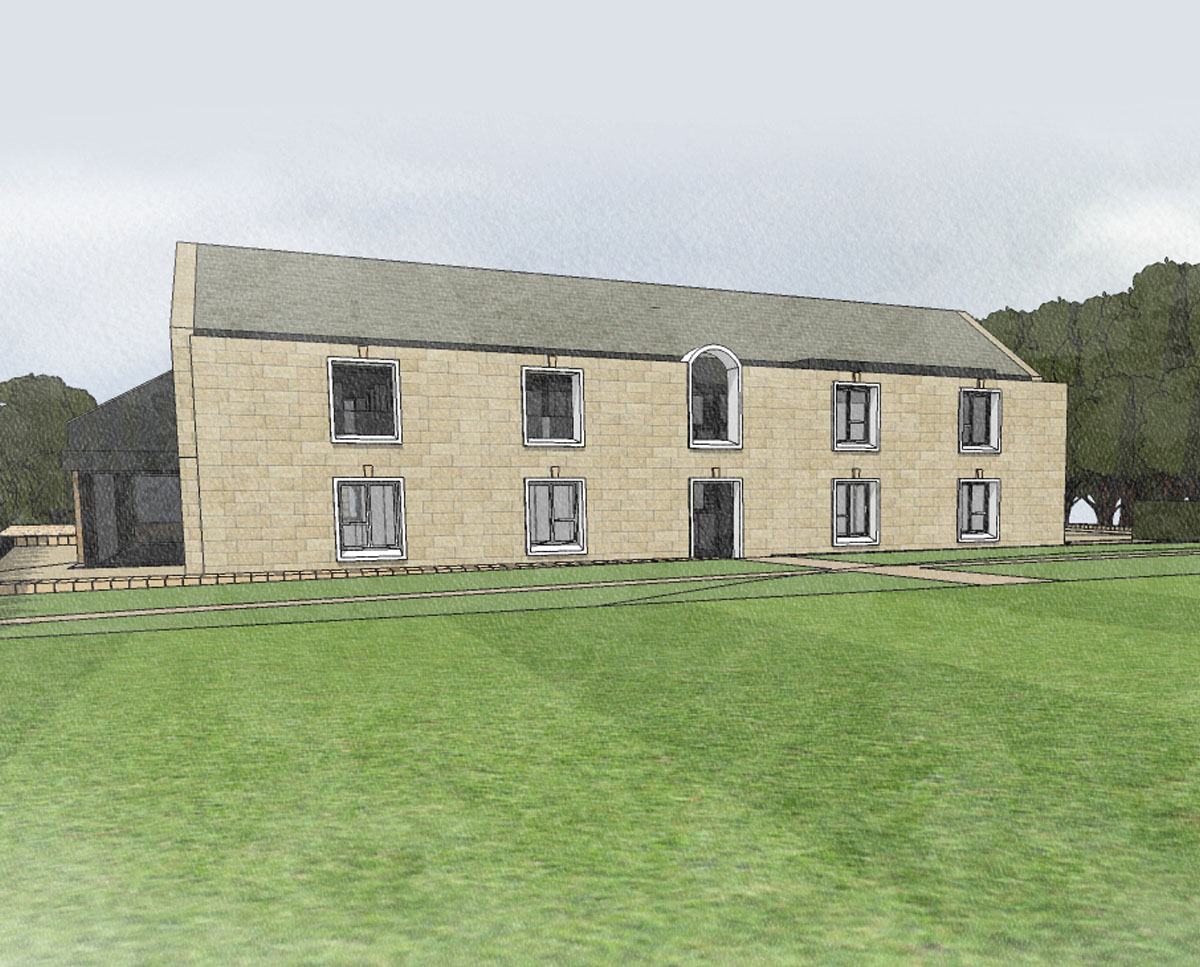 South elevation of North Yorkshire (Para 79). Designed by Hawkes Architecture, this energy efficient grand design, follows passive house principles.