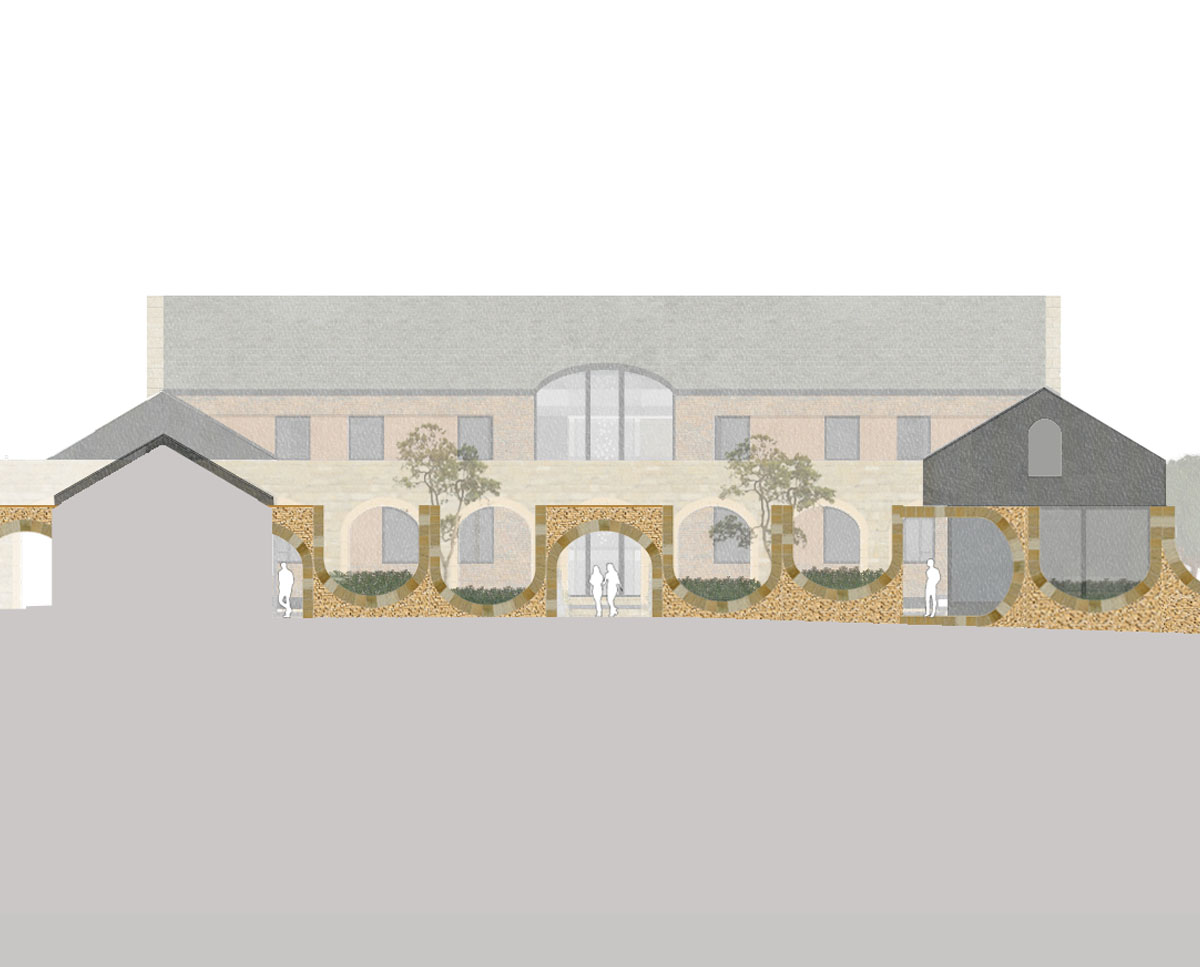 Entrance elevation of North Yorkshire (Para 79). Designed by Hawkes Architecture, this energy efficient grand design, follows passive house principles.