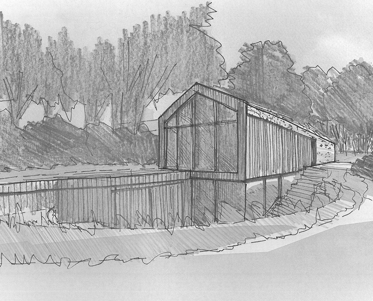 Early sketch of Orchard Barn. A sustainable, energy efficient home designed by Hawkes Architecture.