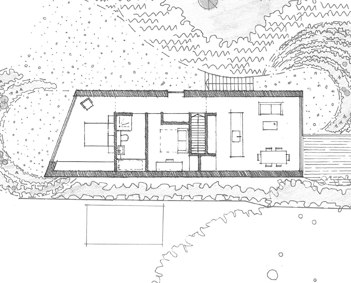 Plan drawing of Orchard Barn. A sustainable, energy efficient home designed by Hawkes Architecture.