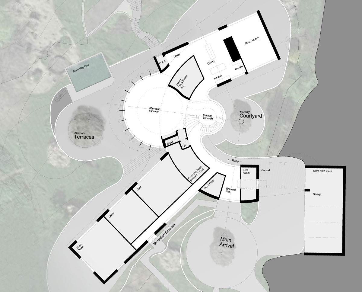 Ground floor plan of Valley View (Para 79). Designed by Hawkes Architecture, this energy efficient grand design, follows passive house principles.