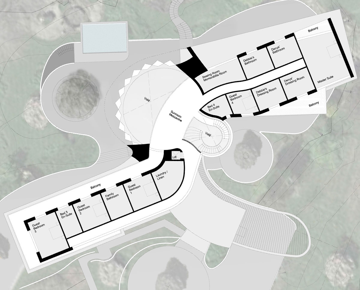 First floor plan of Valley View (Para 79). Designed by Hawkes Architecture, this energy efficient grand design, follows passive house principles.