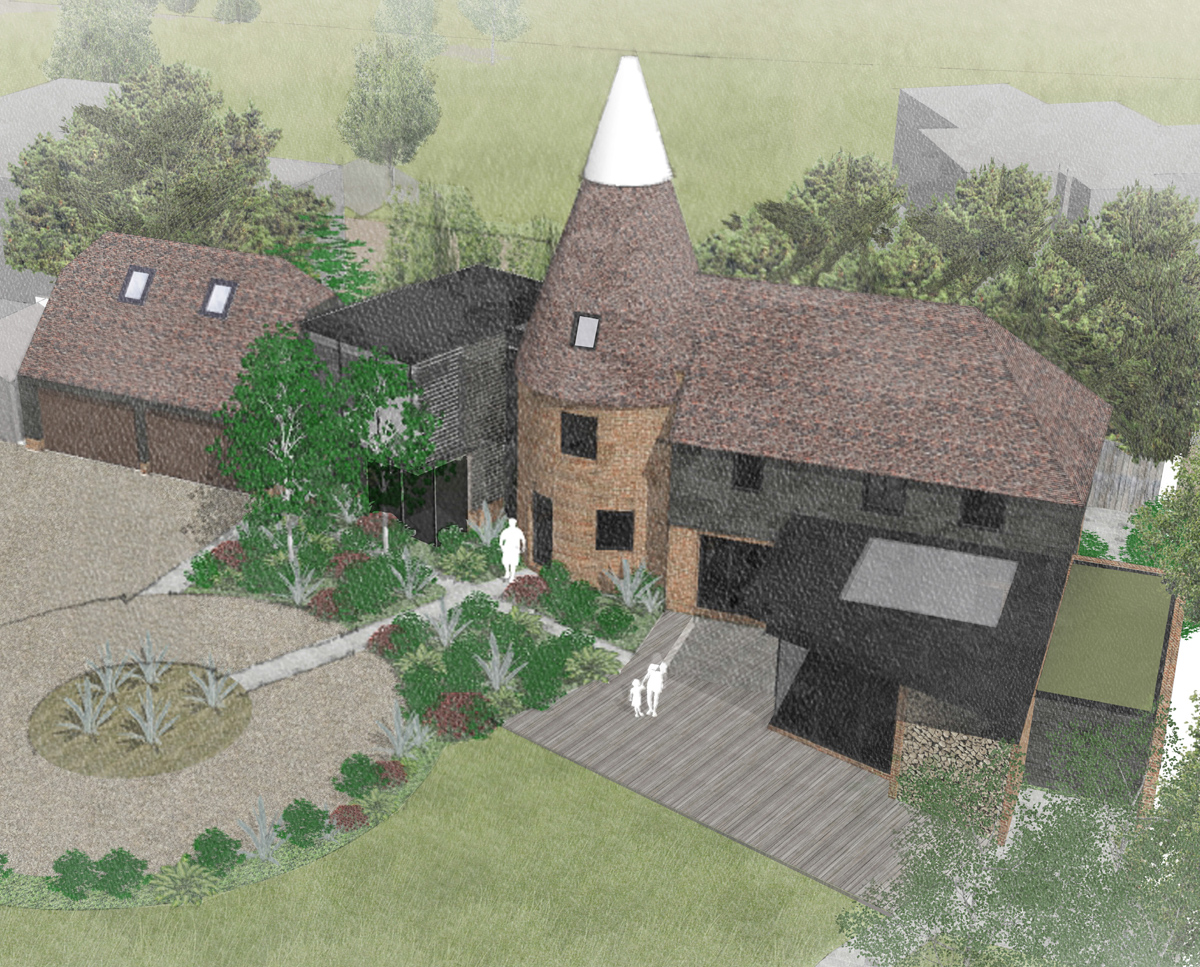 Aerial render of Whitsunden Oast. A remodelled oast house designed by Hawkes Architecture.