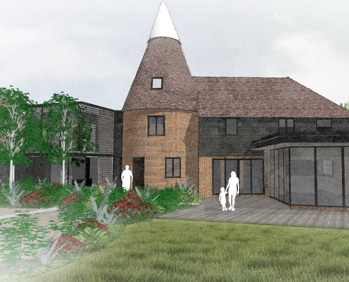 South elevation render of Whitsunden Oast. A remodelled oast house designed by Hawkes Architecture.