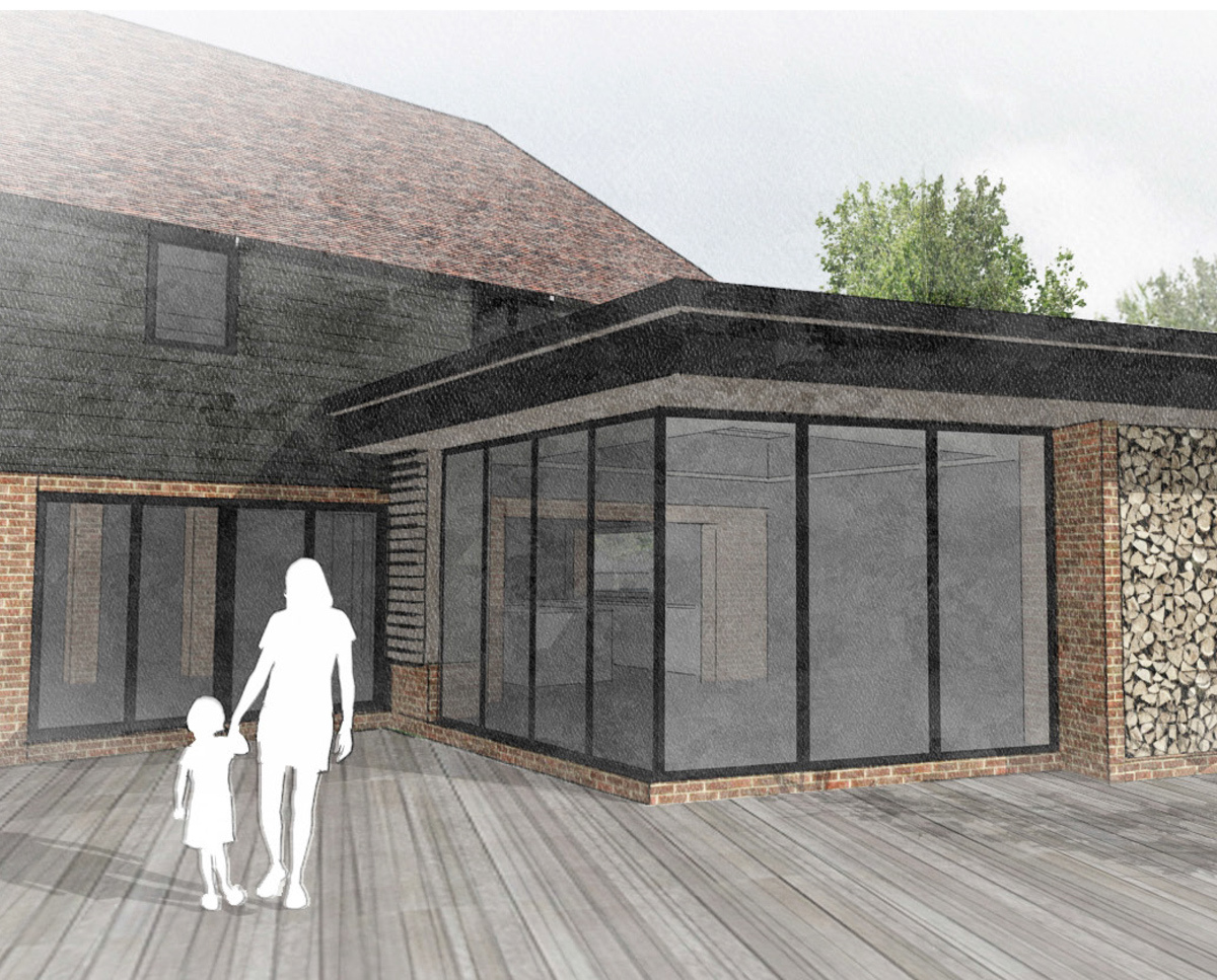 Glazed extension to Whitsunden Oast. A remodelled oast house designed by Hawkes Architecture.