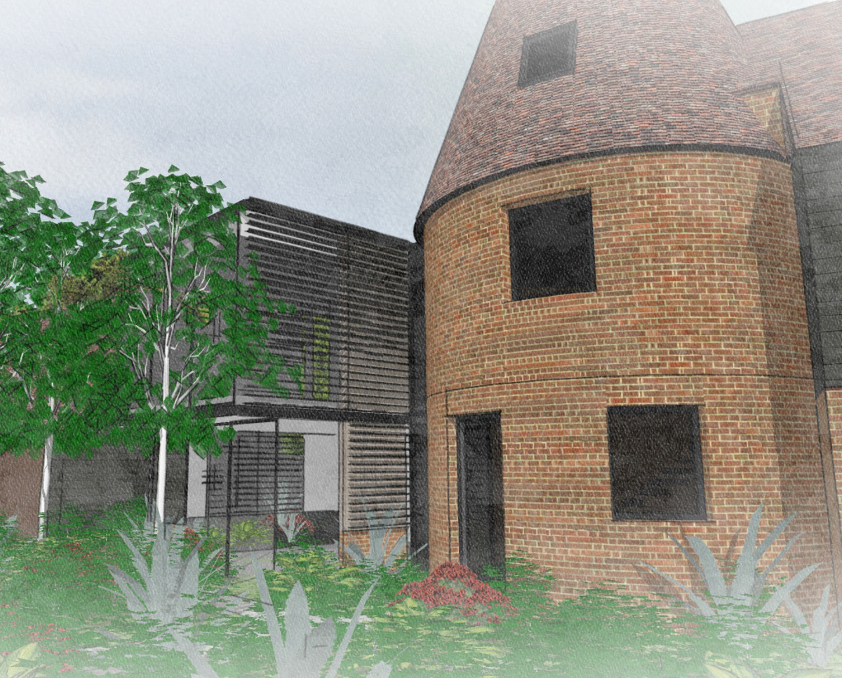 Detail render of Whitsunden Oast. A remodelled oast house designed by Hawkes Architecture.