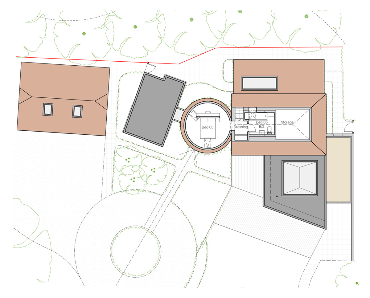 Plan drawing of Whitsunden Oast. A remodelled oast house designed by Hawkes Architecture.