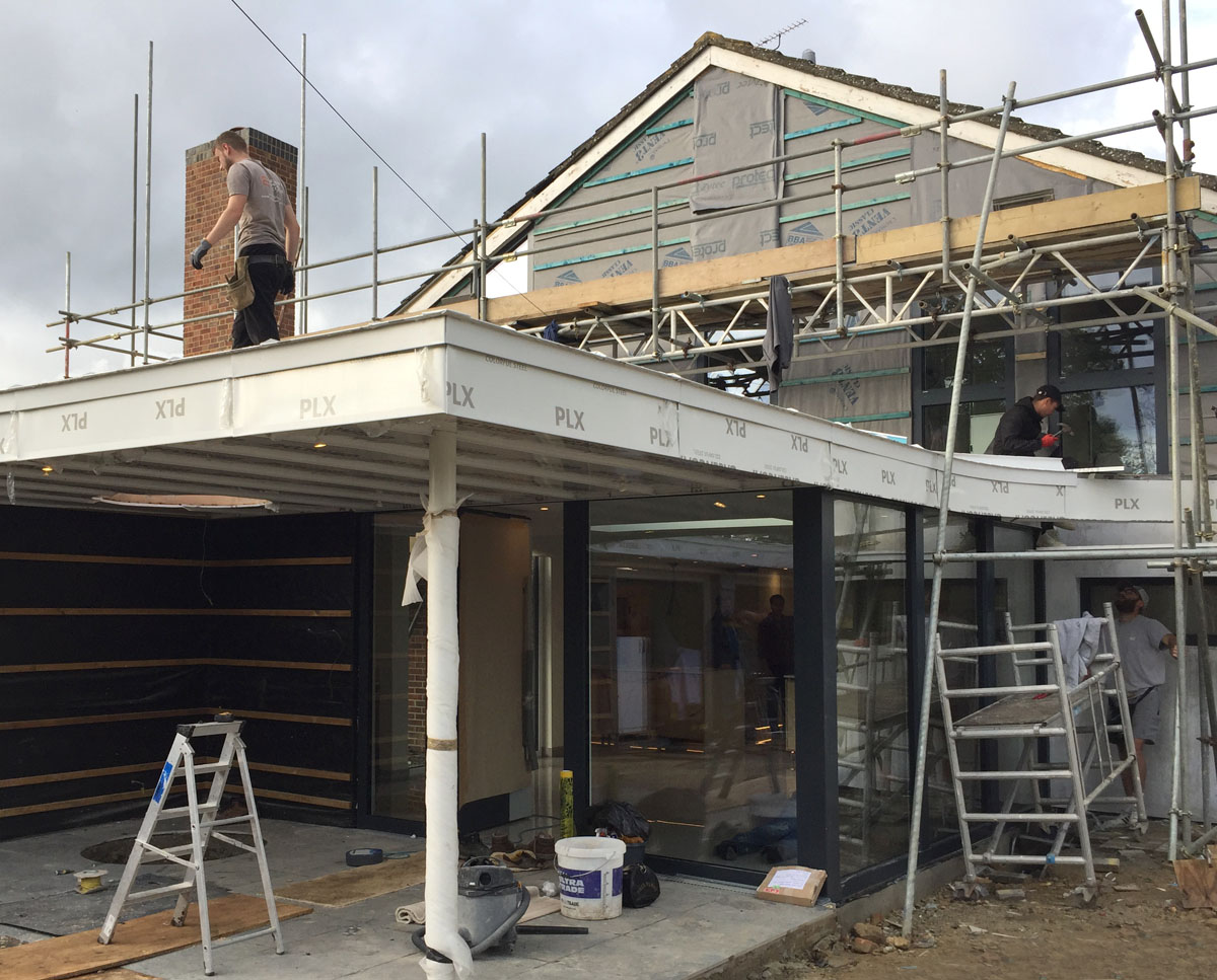 Build in progress at Bellropes. A sustainable energy efficient family home, remodelled by Hawkes Architecture.