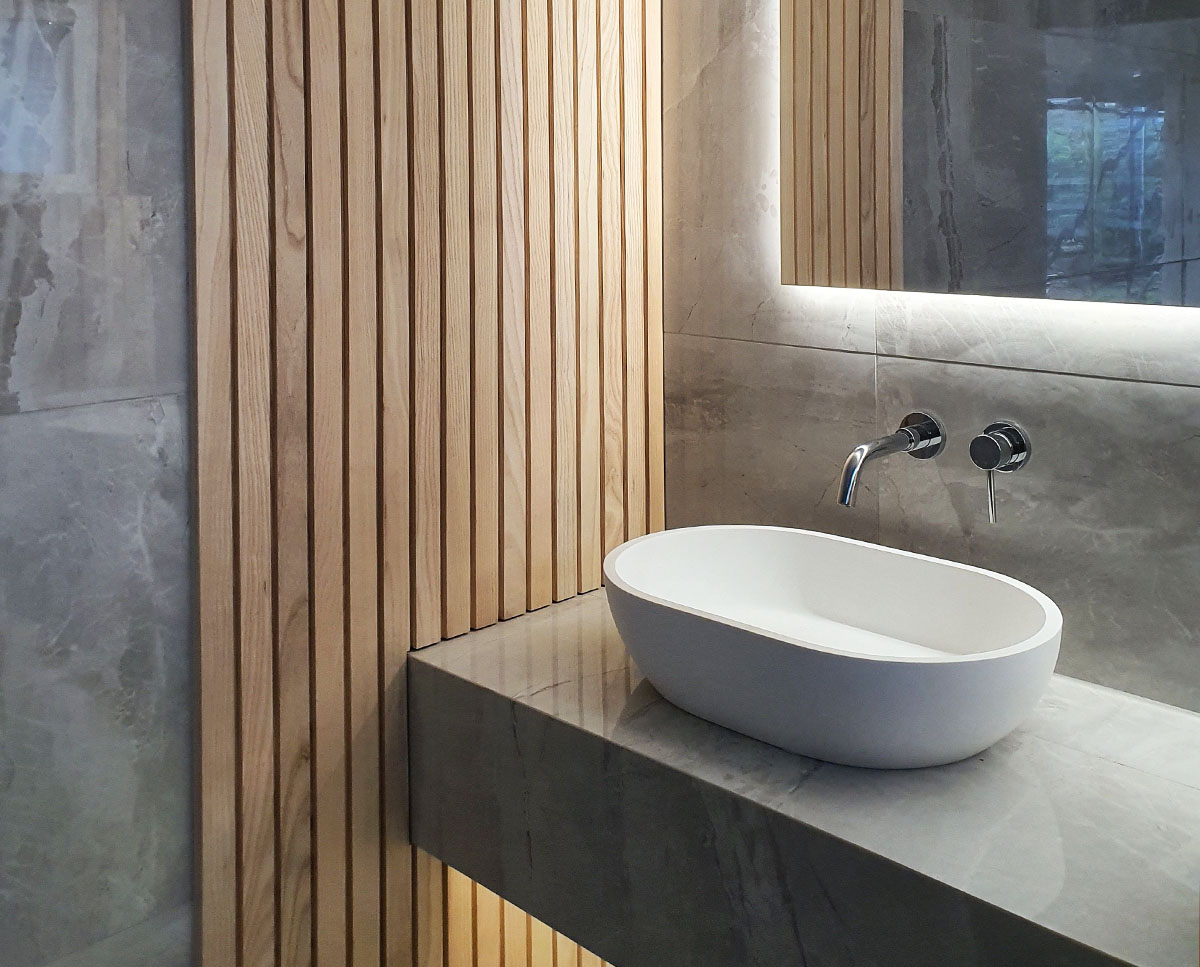 Bathroom sink at Bellropes. A sustainable energy efficient family home, remodelled by Hawkes Architecture.