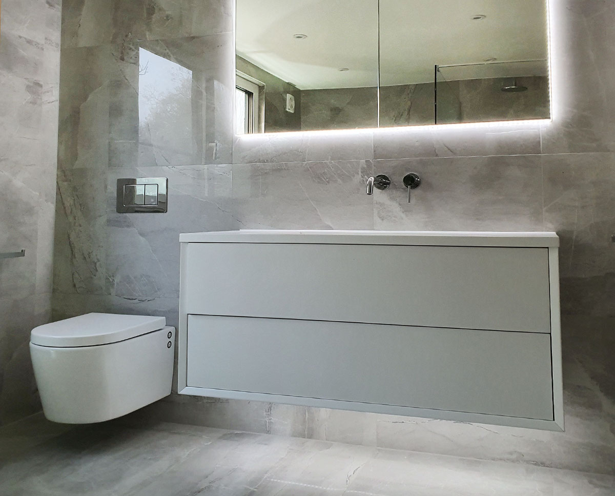 Bathroom cabinet at Bellropes. A sustainable energy efficient family home, remodelled by Hawkes Architecture.