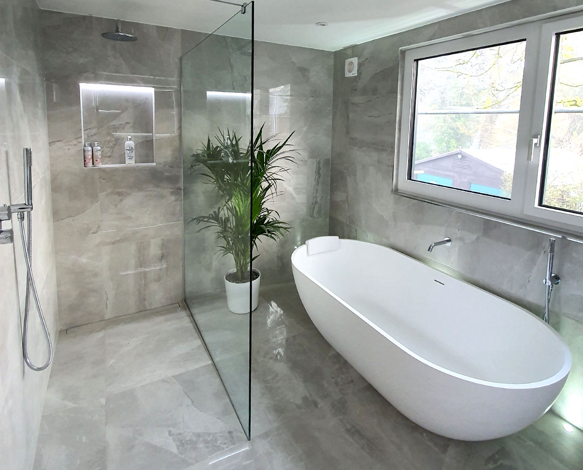 Finished Bathroom at Bellropes. A sustainable energy efficient family home, remodelled by Hawkes Architecture.