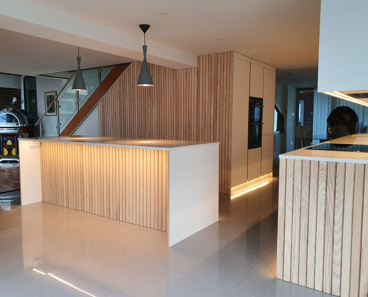 Kitchen detailing at Bellropes. A sustainable energy efficient family home, remodelled by Hawkes Architecture.
