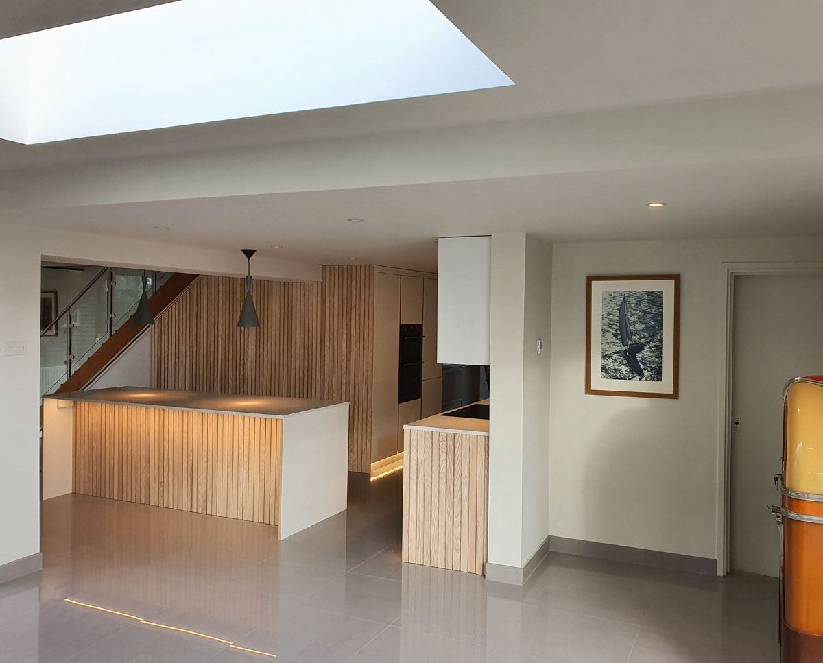 Open plan kitchen at Bellropes. A sustainable energy efficient family home, remodelled by Hawkes Architecture.