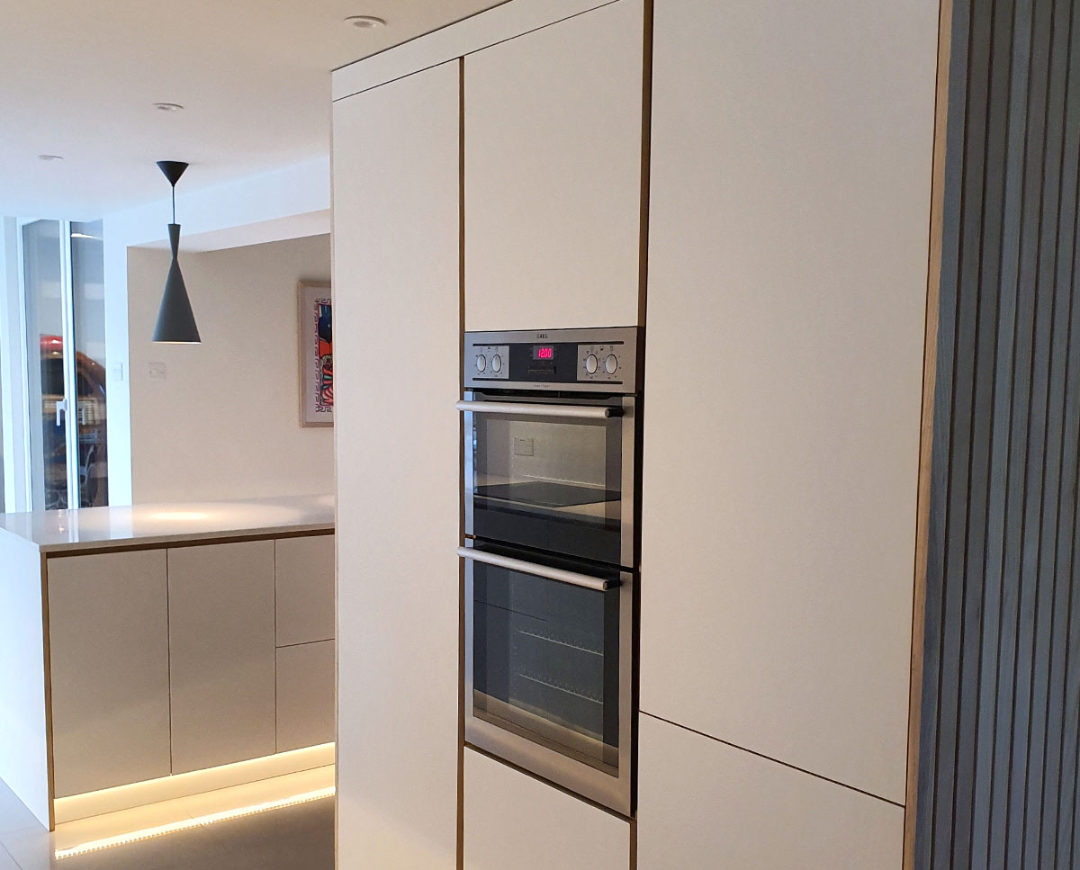 High level ovens installed at Bellropes. A sustainable energy efficient family home, remodelled by Hawkes Architecture.