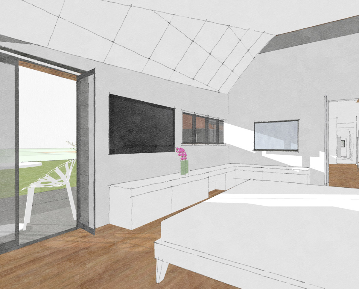 Bedroom render of Benenden Barn (Renovation). Designed by Hawkes Architecture.