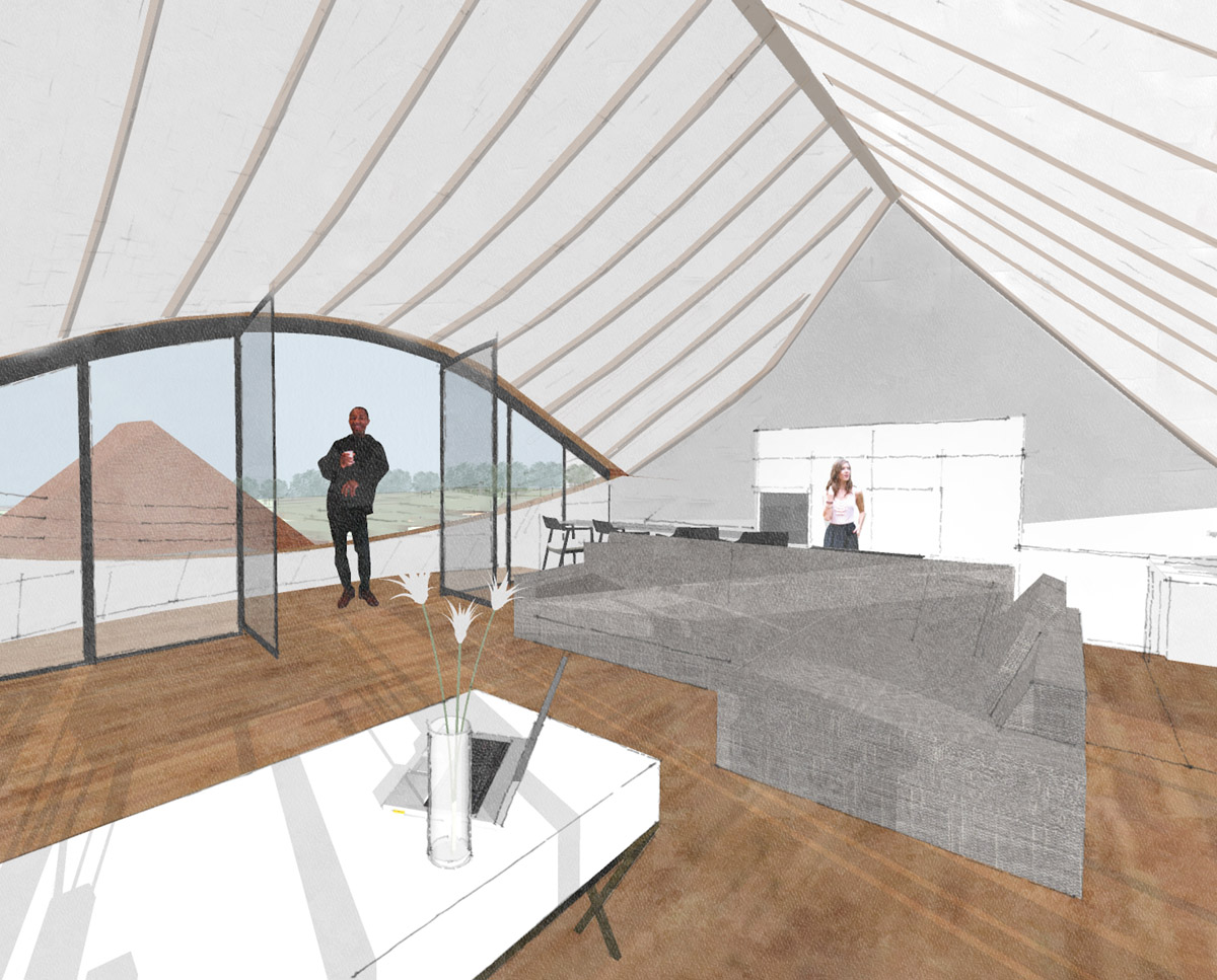 Lounge render of Benenden Barn (Renovation). Designed by Hawkes Architecture.