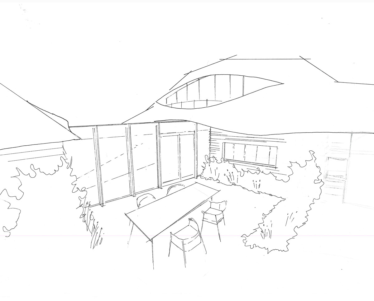 Sketch of Benenden Barn (Renovation). Designed by Hawkes Architecture.