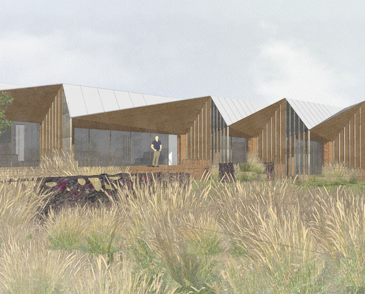 Garden render of Rural Faversham (Para 79). Designed by Hawkes Architecture, this energy efficient grand design, follows passive house principles.