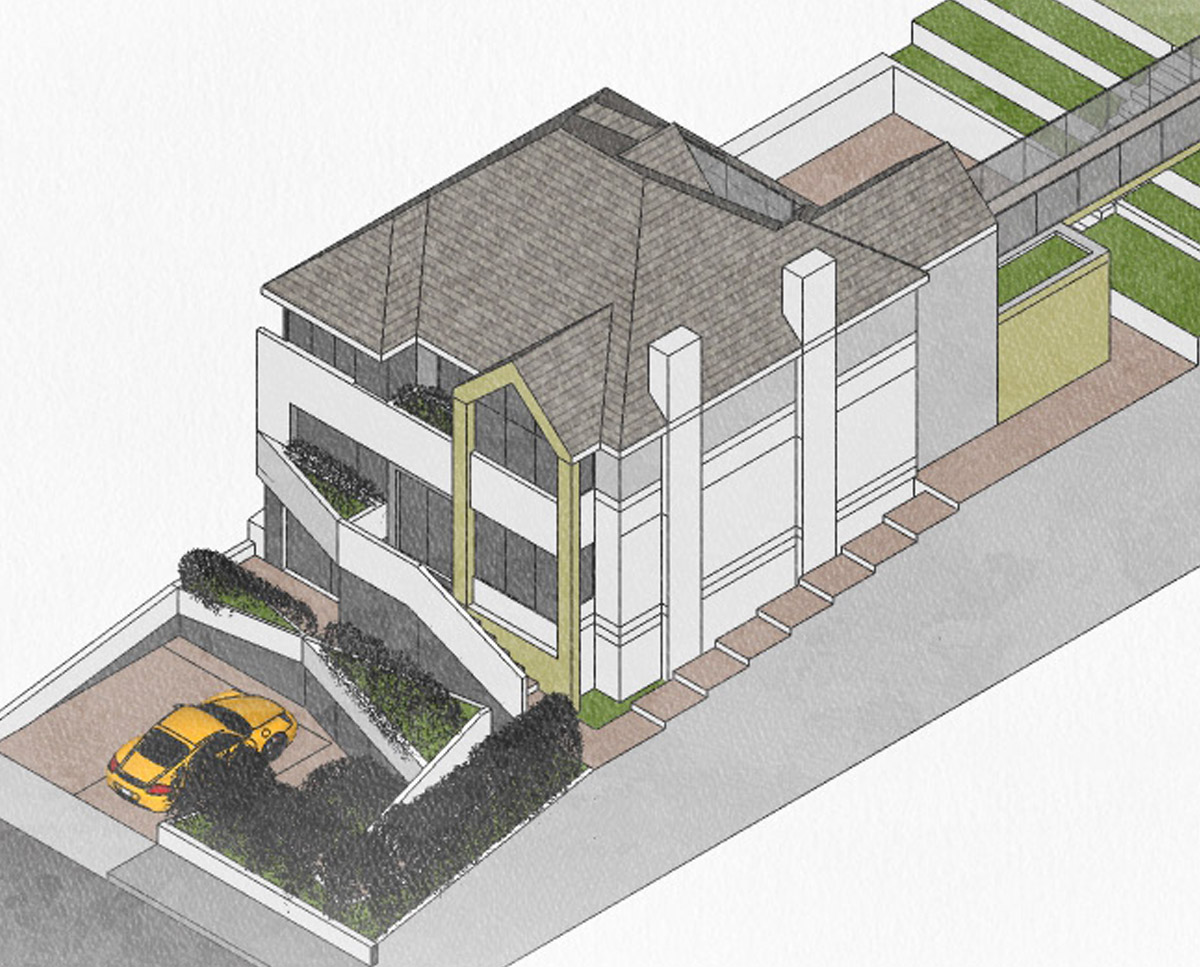 East elevation of High Wycombe (Remodelled home). Designed by Hawkes Architecture.