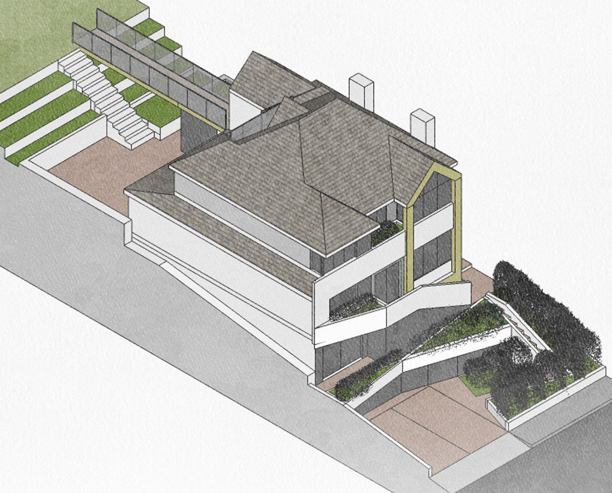 Aerial view of High Wycombe (Remodelled home). Designed by Hawkes Architecture.