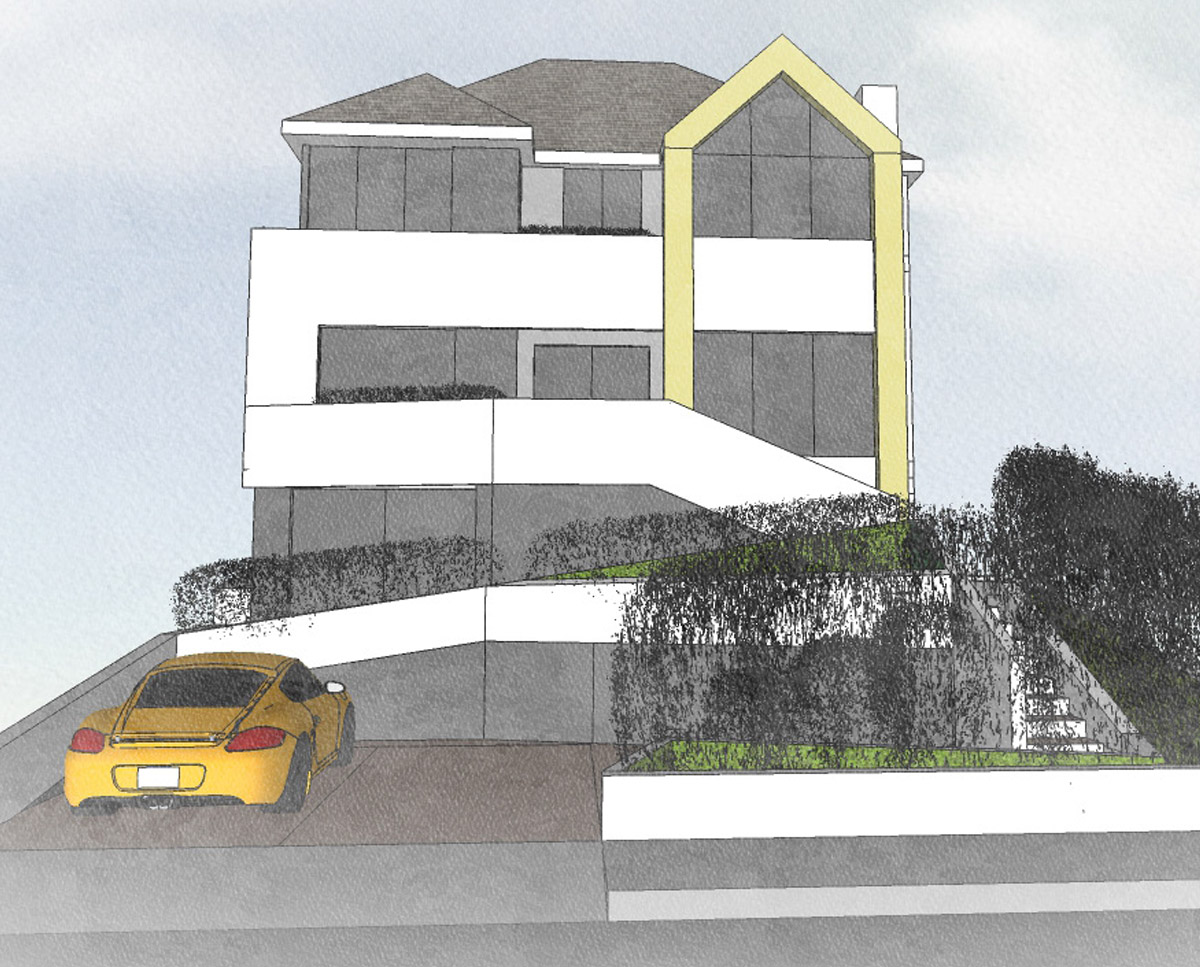 Front elevation of High Wycombe (Remodelled home). Designed by Hawkes Architecture.