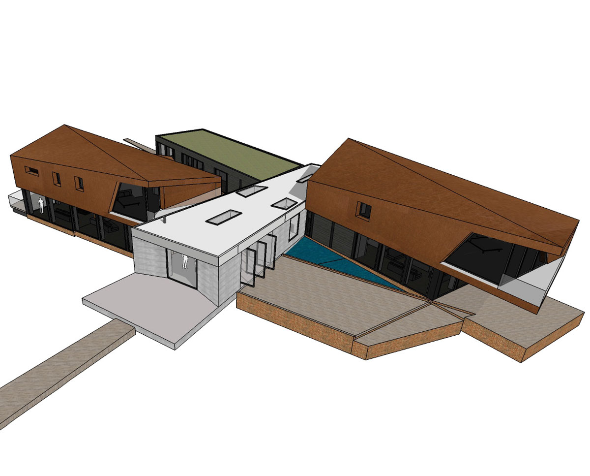 Building render of Redbrook (Para 79). Designed by Hawkes Architecture, this energy efficient grand design, follows passive house principles.