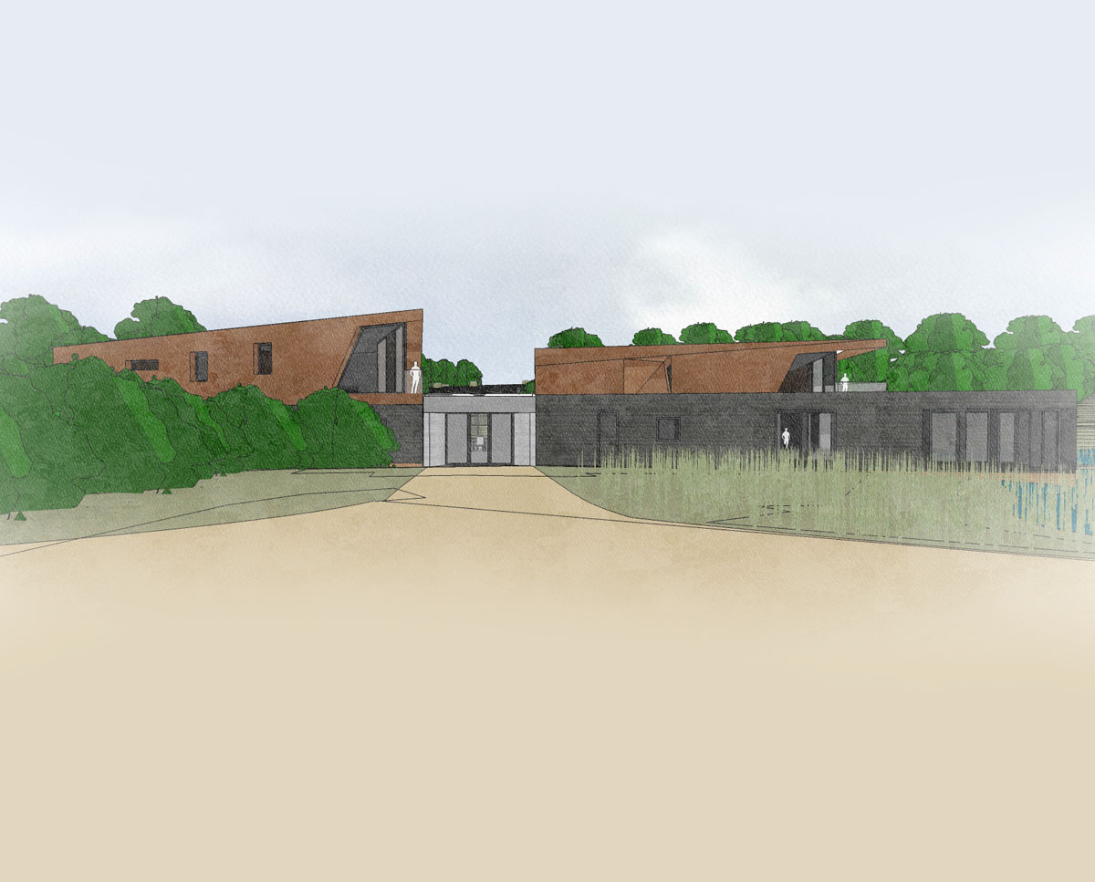 Entrance elevation of Redbrook (Para 79). Designed by Hawkes Architecture, this energy efficient grand design, follows passive house principles.