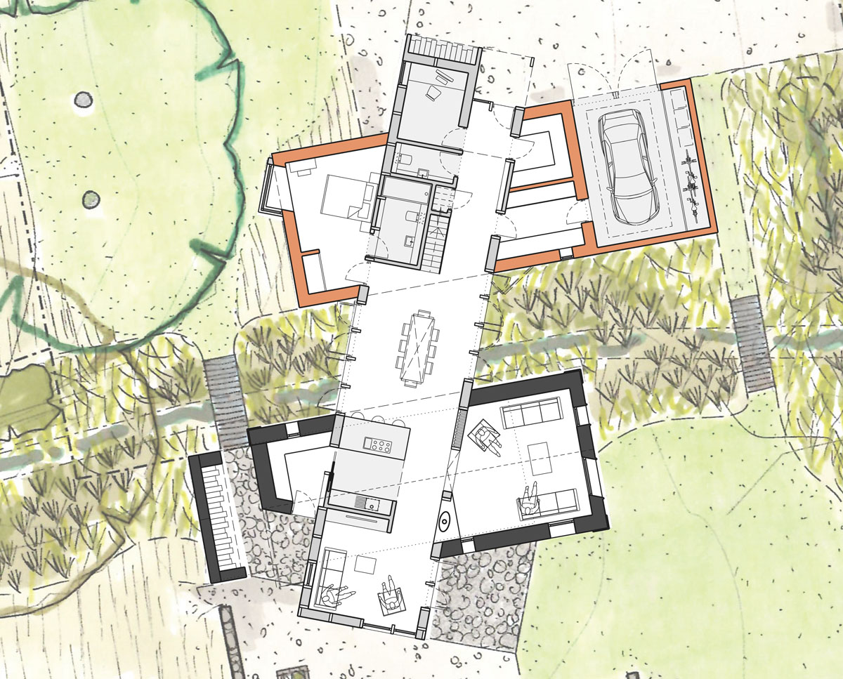 Ground floor plan of Scots Pines (Para 79). Designed by Hawkes Architecture, this energy efficient grand design, follows passive house principles.