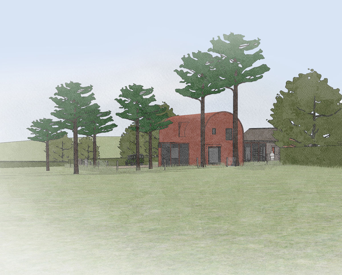 Render of Scots Pines (Para 79). Designed by Hawkes Architecture, this energy efficient grand design, follows passive house principles.
