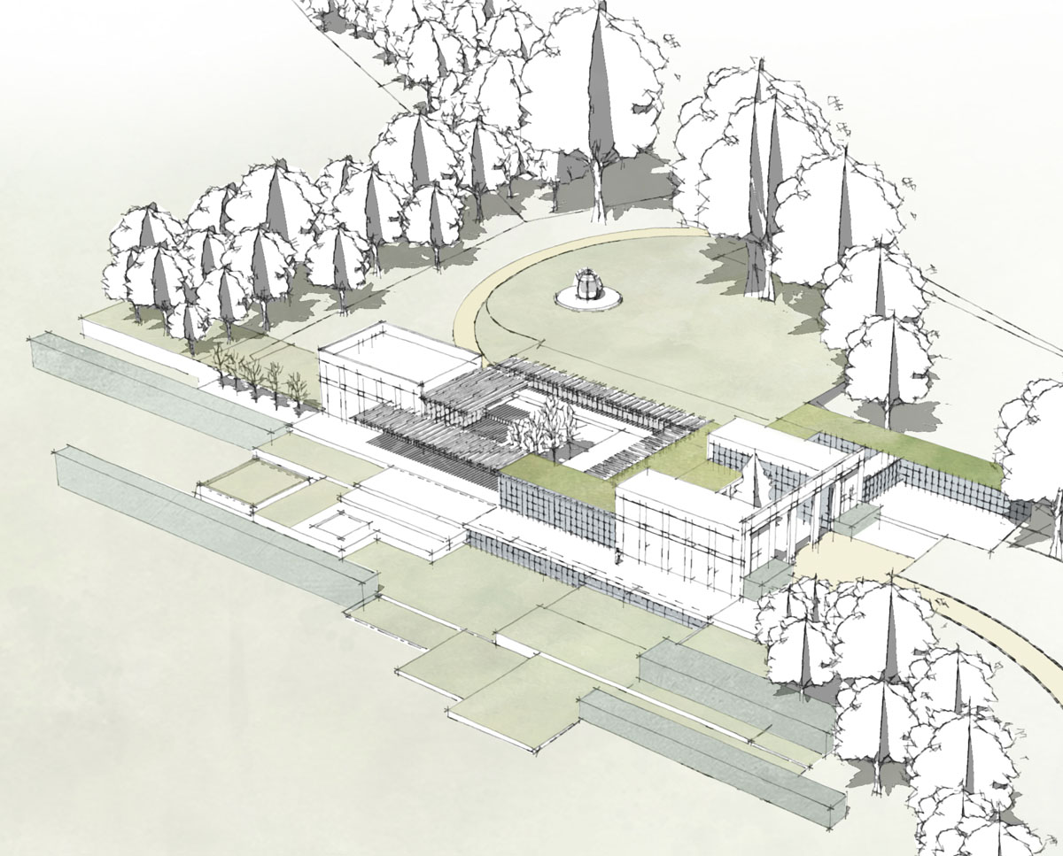 Early render of Winchester. Designed by Hawkes Architecture this grand design, follows passive house principles.
