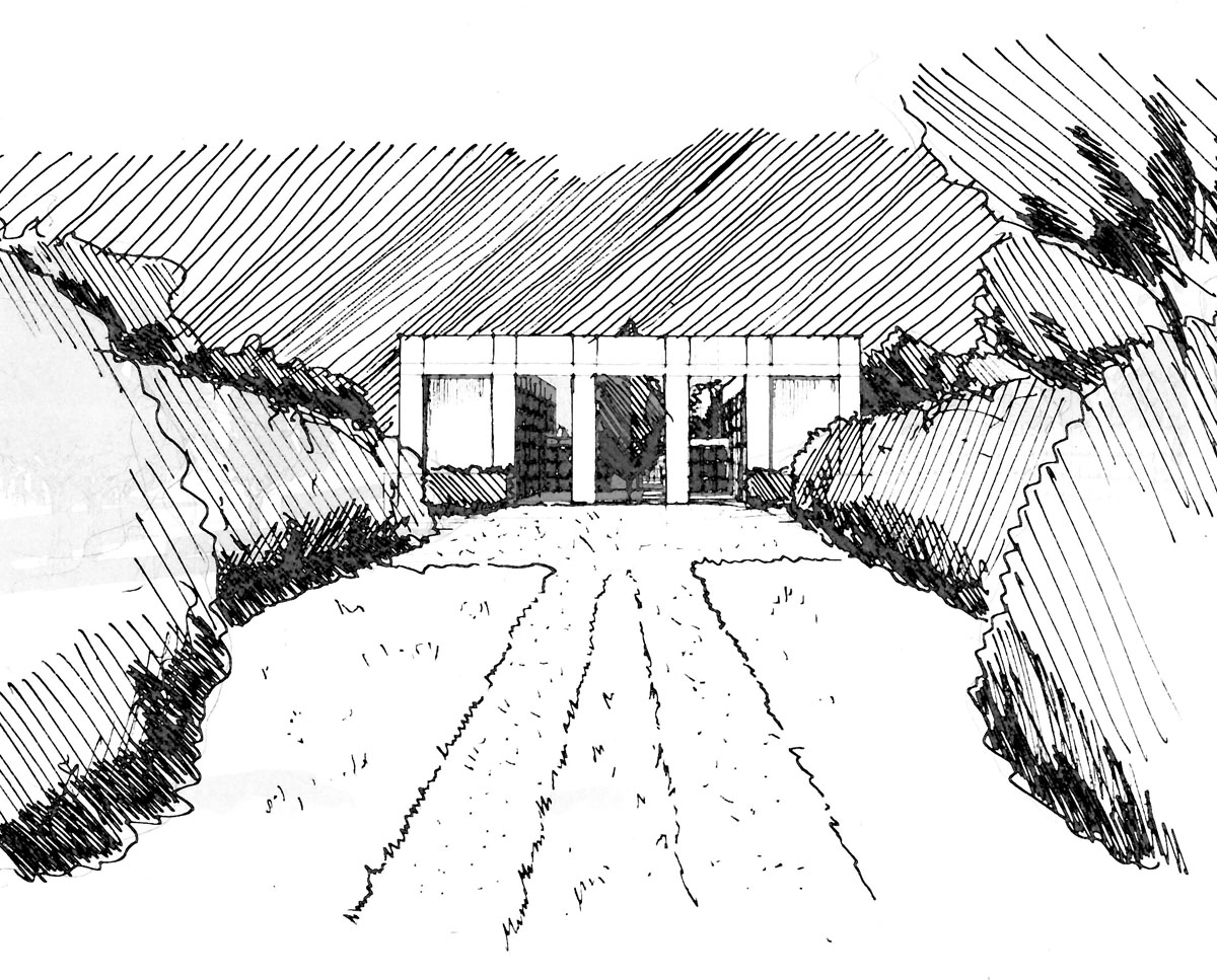 Early entrance sketch of Winchester. Designed by Hawkes Architecture this grand design, follows passive house principles.