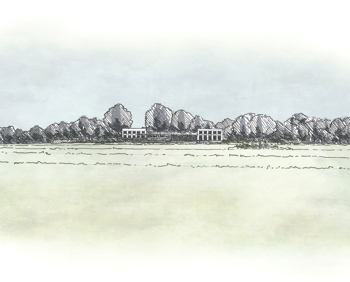 Early ideas for Winchester. Designed by Hawkes Architecture this grand design, follows passive house principles.