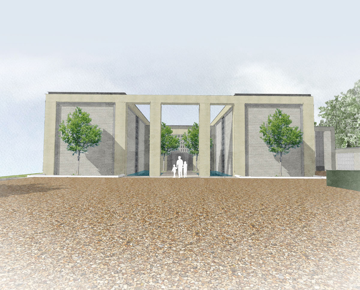 Grand entrance at Winchester. Designed by Hawkes Architecture this grand design, follows passive house principles.