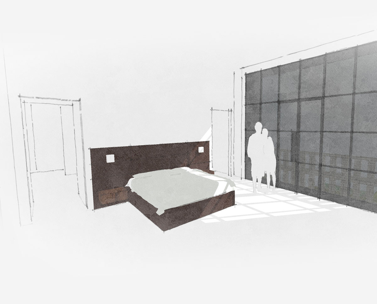 Bedroom at Winchester. Designed by Hawkes Architecture this grand design, follows passive house principles.